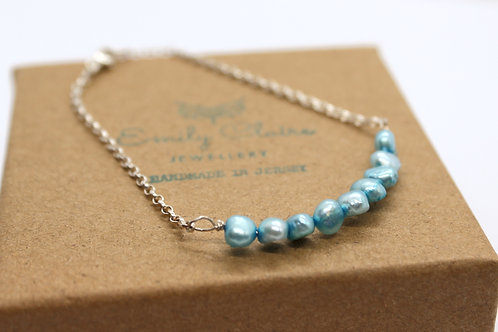 Freshwater pearl Bar Bracelet, eco-friendly, ethically sourced gemstones, handmade jewellery, sterling silver