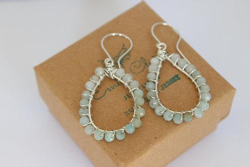 Amazonite earrings, eco friendly, sterling silver earrings, recycled silver earrings