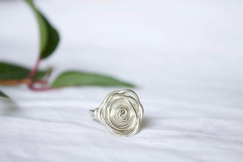 silver rose ring, eco friendly, handmade jewellery