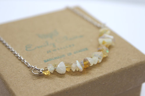 Opal gemstone necklace, eco friendly, sterling silver jewellery