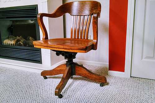 OAK BARREL BACK OFFICE SWIVEL CHAIR
