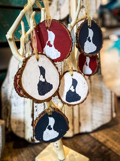 Wood Block Island Ornament