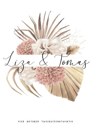 Voorkant Trouwkaart Liza & Tomas