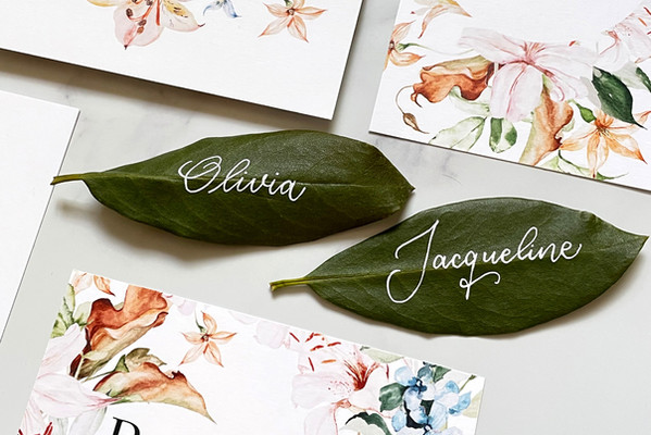 Witty Ink - Placecards on leaves 02