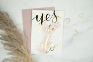 Gekalligrafeerde trouwkaart