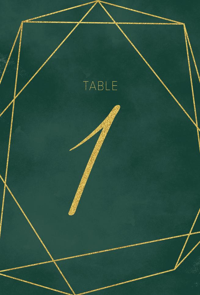 Tafelnummer met goudfolie mockup