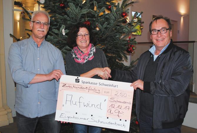 WERNECK/SCHRAUDENBACH – Eigenheimervereinigung Schraudenbach e. V.  überreicht Spende an den Aufwind