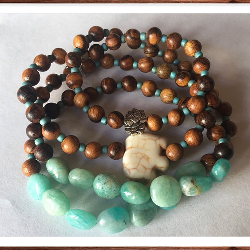 Green Amazonite Nuggets and Qinan Sandalwood beads