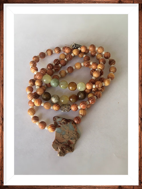 Sea Sediment Jasper stone with sea agate beads.