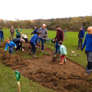 Fruit & Nut Village work days at Pebble Mill Playing Fields Forest Garden...