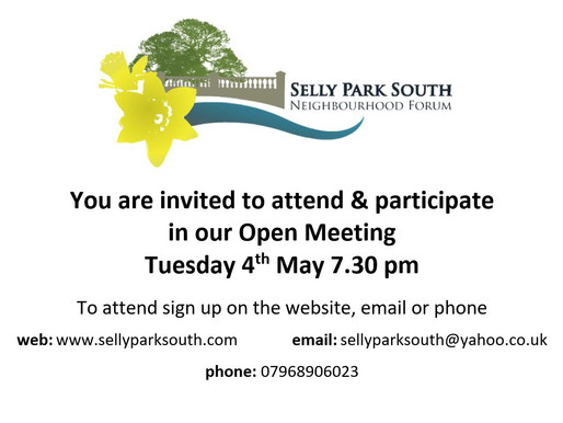 Open Forum Meeting Invite 4th May at 7.30pm