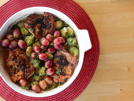 Roasted Rosemary Garlic Chicken with Red Grapes & Brussels Sprouts