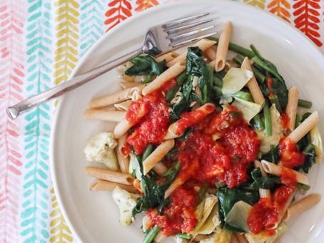 Spinach & Artichoke Hearts Pasta