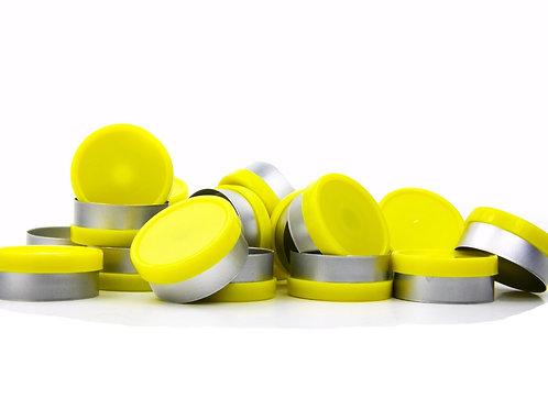 "20mm Yellow Flip-Off Seals - ""Blank"""