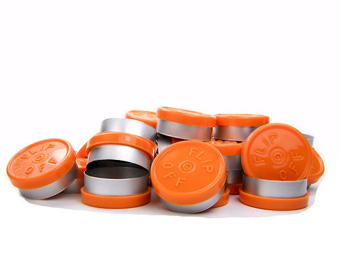 "20mm Orange Flip-Off Seals - ""Flip-Off"""