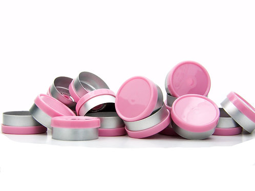 "20mm Pink Flip-Off Seals - ""Blank"""