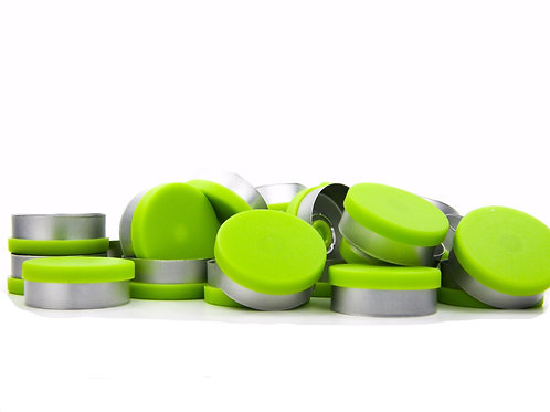 """20mm Lime Green Flip-Off Seals - """"Matt Frost"""""""