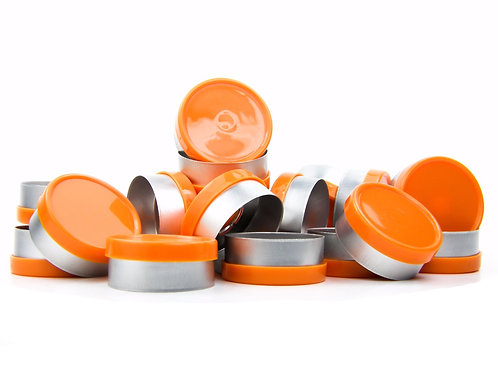 "20mm Orange Flip-Off Seals - ""Blank"""