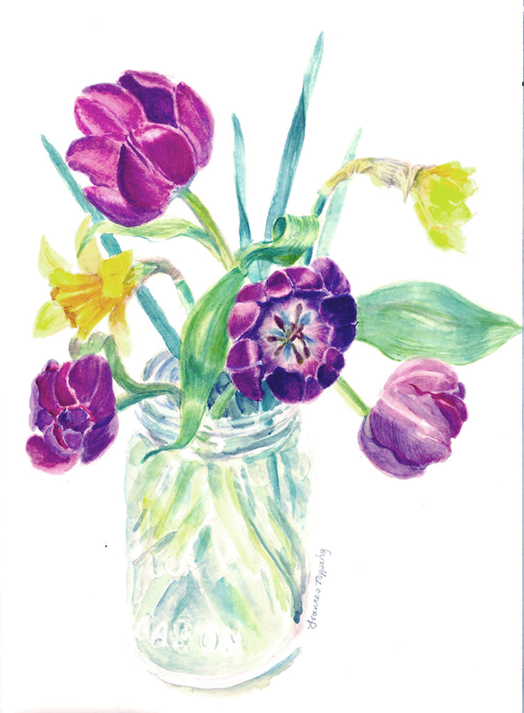 Tulips in glass jar
