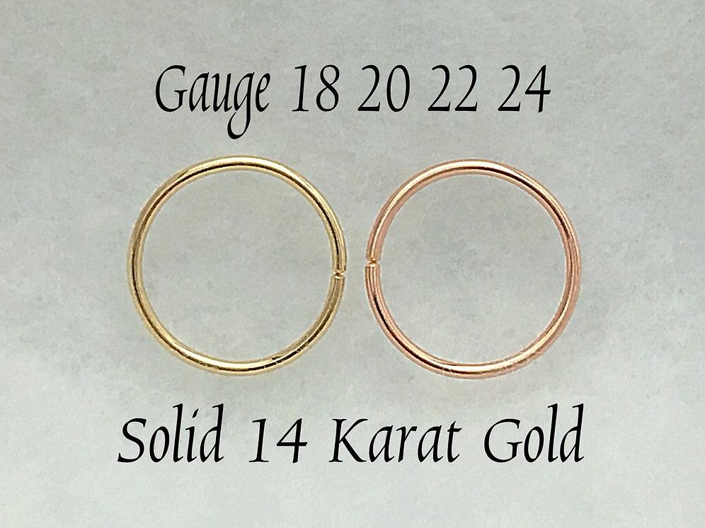 14 Kt Solid Gold Ear Piercing Rings Gauge 16 18 20 24 Septum Nose Ring