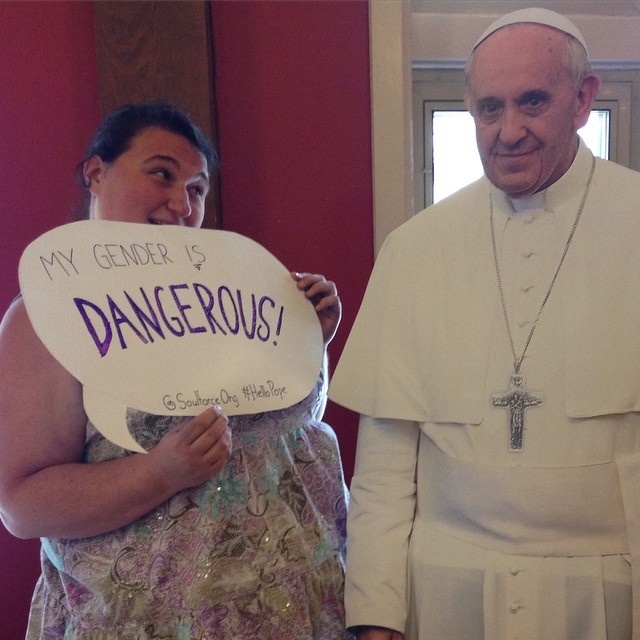 to the Pope: Victoria's gender IS dangerous! #HelloPope #Asheville #