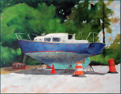 Boat in Dry Dock 12x16