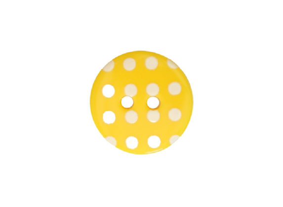 15mm Yellow & White Polka Dot Button