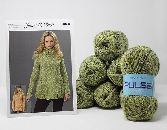 "Sweater Knitting Kit in James C Brett Pulse Chunky Yarn Size 36-38"""