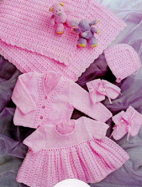36 UKHKA Baby Set - Shawl, Dress, Cardigan, Hat, Mittens & Bootees in DK
