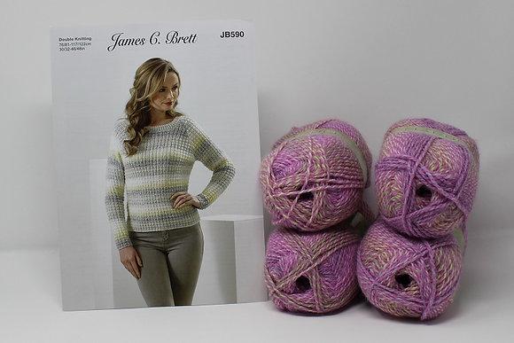 "Sweater Knitting Kit in James C Brett Marble DK in MT55 Size 30/32-34/36"""