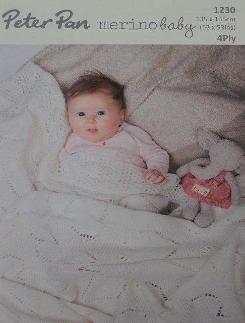 1230 Sweetheart Baby Shawl in Peter Pan Merino Baby 4 Ply