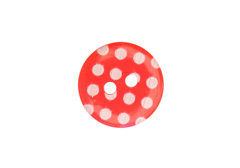 15mm Red & White Polka Dot Button