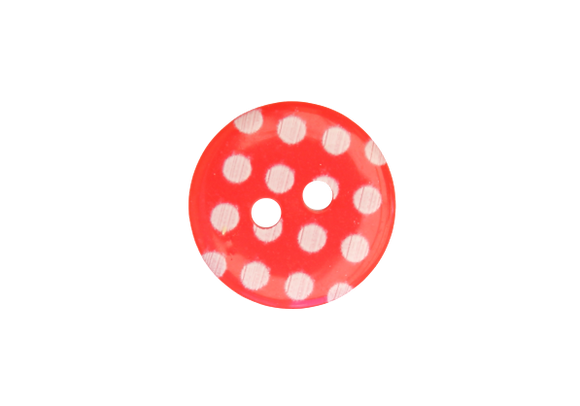 15mm Red & White Polka Dot Button