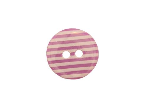 15mm Purple & White Stripe Button