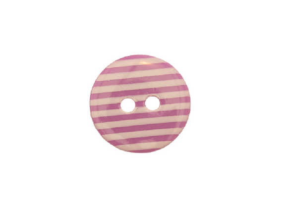 15mm Purple & White Stripe Button