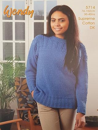 5714 Guernsey Style Sweater in Wendy Supreme Cotton DK