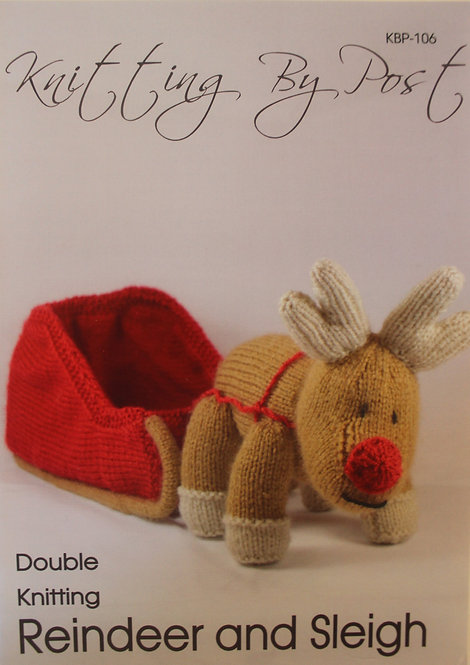 Reindeer and Sleigh Knitting By Post Pattern KBP-106