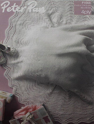 P1066 Baby's Shawl in Peter Pan 4 Ply