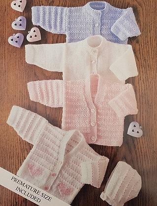 7138 Teddy 4 Ply Cardigans & Bonnet