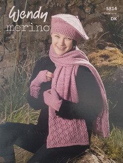 5814 Scarf, Beret & Mitts in Wendy Merino DK