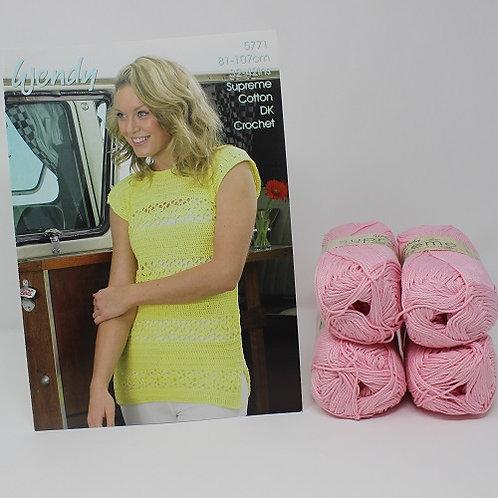 "Crochet Top Knitting Kit in Wendy Supreme DK Size 32/34"""