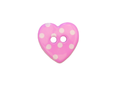 15mm Purple & White Spotty Heart Button