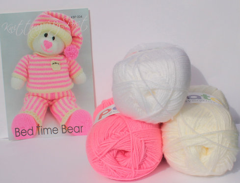 Knitting By Post Bed Time Bear Knitting Kit - Pink