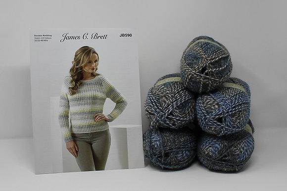 "Sweater Knitting Kit in James C Brett Marble DK in MT18 Size 38/40"""