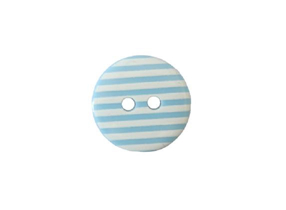 15mm Pale Blue & White Stripe Button
