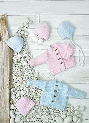 Knitting Pattern JB694 Baby Jacket & Hats