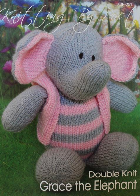 Grace the Elephant Knitting By Post Pattern KBP-251