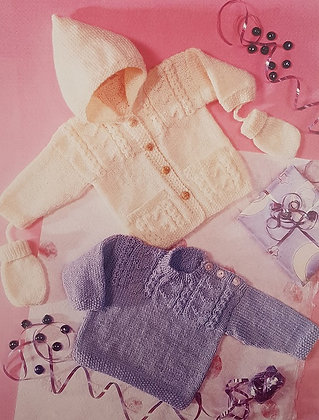7197 Sweater, Jacket & Mitts in DK