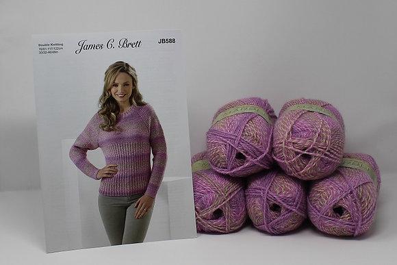"Sweater Knitting Kit in James C Brett Marble DK in MT55 Size 38/40"""