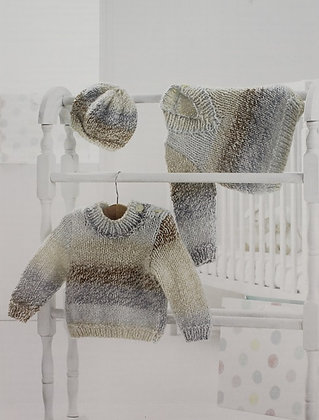 JB351 Sweaters & Hats in James C Brett Baby Marble Chunky